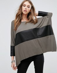 Replay Leather Look Panel Batwing Top Green Clay