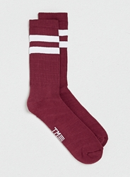 Topman Burgundy White Stripe Tube Socks Red