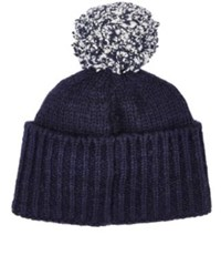 The Elder Statesman Men's Twist Cashmere Pom Pom Cap Navy White Navy White