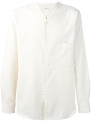 Christophe Lemaire V Neck Button Down Shirt Nude Neutrals