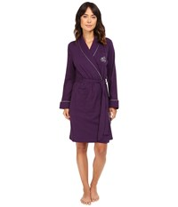 Lauren Ralph Lauren Essentials Quilted Collar And Cuff Robe Eggplant Women's Robe Purple