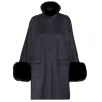 Loro Piana Anouk Cashmere And Fox Fur Coat Anthracite Brown