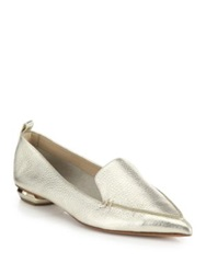 Nicholas Kirkwood Bottal Metallic Leather Point Toe Loafers Pink Pewter Silver Platino Blue