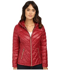 Jessica Simpson Hooded Packable Jacket Wine Women's Coat Burgundy