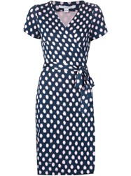 Diane Von Furstenberg Polka Dot Wrap Dress Blue