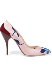 Oscar De La Renta Furnet Suede Trimmed Printed Satin Pumps White