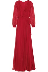 Matthew Williamson Silk Chiffon Wrap Gown Red