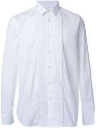 Saint Laurent Pleated Placket Long Sleeve Shirt White