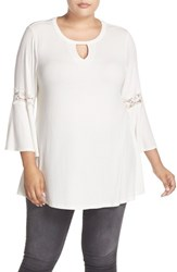 Bobeau Plus Size Women's Lace Inset Bell Sleeve Jersey Top Ivory