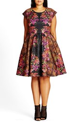 City Chic Plus Size Women's 'Femme Royale' Fit And Flare Dress