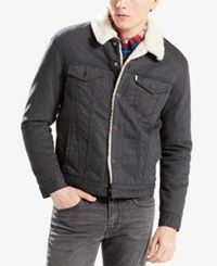 Levi's Trucker Jacket With Faux Sherpa Lining Nightwatch Blue Flannel