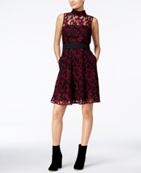 Rachel Roy Lace Illusion Fit And Flare Dress Red Black