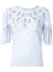 Megan Park 'Gilda' Embroidered Blouse Blue