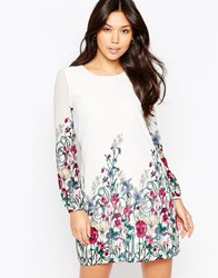 Yumi Long Sleeve Garden Print Shift Dress Cream