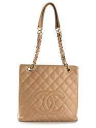 Chanel Vintage Petite Shopping Tote Nude And Neutrals