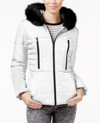 Celebrity Pink Faux Fur Trim Hooded Puffer Coat White