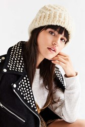 Urban Outfitters Braided Cuff Toque Hat Ivory