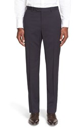 Men's Armani Collezioni Flat Front Solid Wool Trousers Navy