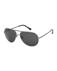 Ermenegildo Zegna Round Polarized Aviator Sunglasses Smoke Gunmetal