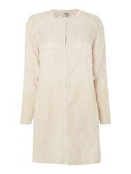 Hoss Intropia Long Sleeve Embroidered Colarless Coat Ivory