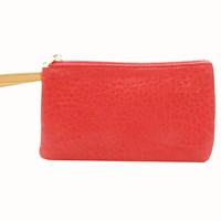 Freay Leather Rectangle Wristlet Pouch Red