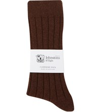 Johnstons Ribbed Cashmere Blend Socks Chocolate