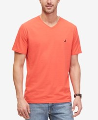 Nautica Men's Solid Slim Fit V Neck T Shirt Light Mars Red