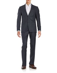 Michael Kors Wool Pin Check Suit Blue