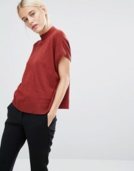 Monki High Neck Knitted T Shirt Redish Melange
