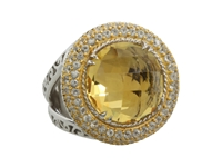 Delatori Citrine And Crystal Ring