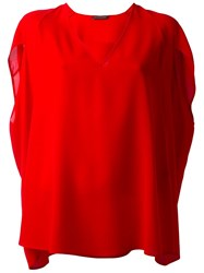 Alexander Mcqueen Cape Blouse Red