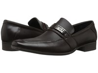 Calvin Klein Bartley Dark Brown Diamond Leather Men's Shoes Black