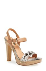 Women's Halogen 'Viv' Platform Sandal Natural Snake Printed Leather