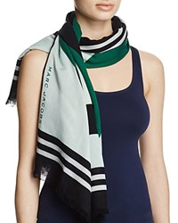 Marc Jacobs Monogram Flower Shawl Scarf Green Multi