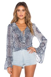 Band Of Gypsies Printed Ruffle Front Blouse Navy