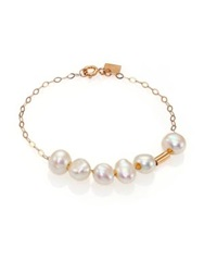 Ginette_Ny 6Mm White Baroque Pearl And 14K Rose Gold Tube Chain Bracelet