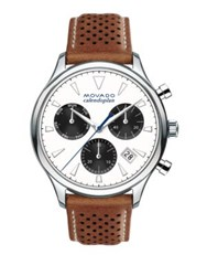 Movado Heritage Stainless Steel Laser Cut Leather Strap Watch Brown White