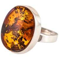 Be Jewelled Oval Amber Ring Cognac