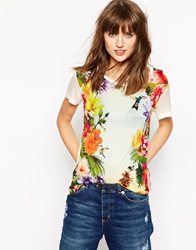 Ganni Short Sleeve Floral Print T Shirt Multi