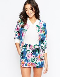 Traffic People Love Climate Bomber Jacket In Floral Print Multi