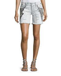 Miss Me Embroidered Cutoff Denim Shorts Light Wash 92