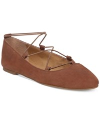 Lucky Brand Women's Aviee Elastic Lace Up Ballet Flats Women's Shoes Toffee Leather