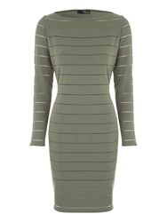 Jane Norman Burnout Stripe Midi Dress Khaki