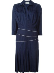 Gianfranco Ferre Vintage Crisscross Waistband Shirt Dress Blue