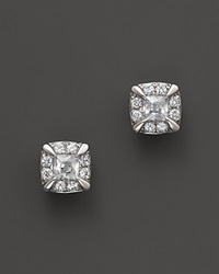 Bloomingdale's Diamond Princess Cut Stud Earrings In 14K White Gold .25 Ct. T.W. White Gold White Diamonds