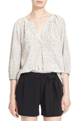 Women's Joie 'Addie B' Split Neck Print Silk Blouse