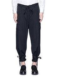Sulvam Relaxed Fit Drawstring Waist And Cuff Wool Pants Black