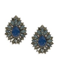 Catherine Stein Cabochon Stone Stud Earrings Blue