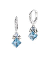 Judith Jack Cubic Zirconia Marcasite Spinnel And Sterling Silver Drop Earrings Blue
