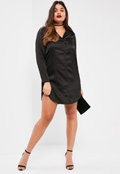 Missguided Plus Size Exclusive Black Satin Shirt Dress